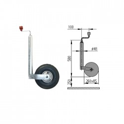 Roue Jockey AL-KO gonflable diamètre 48mm Galet 260x85