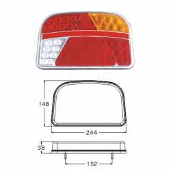 Feu LED 7 fonctions 12/24V Droit